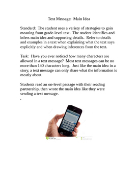 Main Idea Activity with Text Messaging