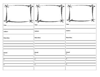 Main Idea Bookmarks