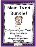 Main Idea Nonfiction Task Cards Activities Bundle