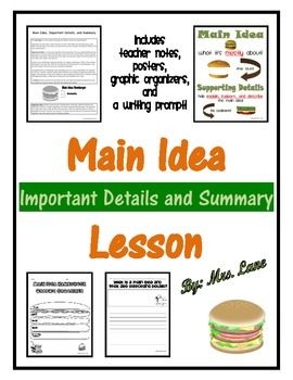 Main Idea Important Details and Summary Lesson