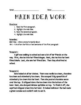 Main Idea Mini Practice Pack