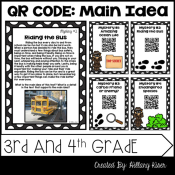 Main Idea Mysteries (QR Code Activity: 3rd and 4th Grade)