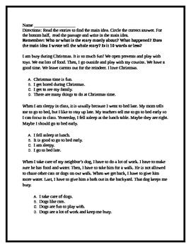 Main Idea Passages Worksheet