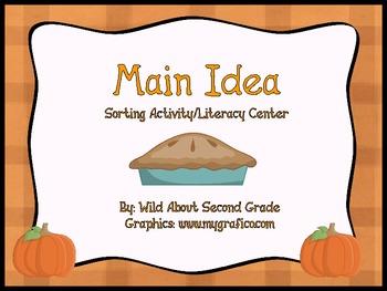 Main Idea Sorting Activity/Literacy Center- Fall/Pumpkin Theme
