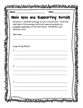 Main Idea & Supporting Details Worksheet
