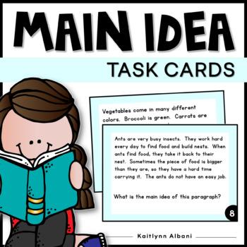 Main Idea Task Cards Short Passages