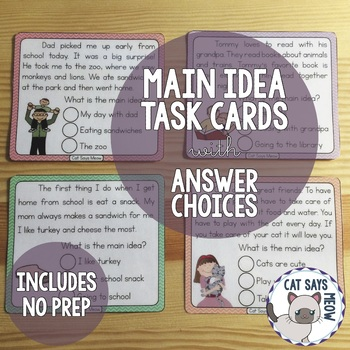 Main Idea Task Cards with Answer Choices for Early/Emergen