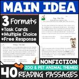 Main Idea Practice {Main Idea Task Cards, MC, and Writing}