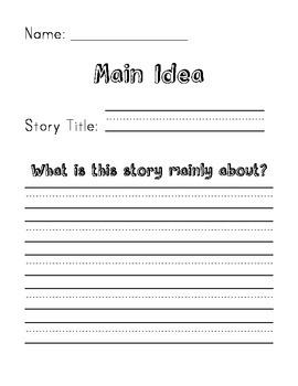 Main Idea Write-Up Sheet