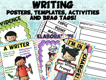 Writing, Main Idea, Posters, Activites, Brag Tags, Common