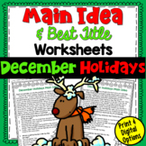 Main Idea and Best Title Worksheets- December Holidays (te