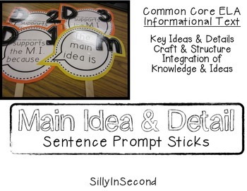 Main Idea and Detail Sentence Prompt Sticks