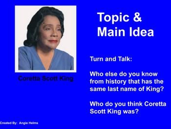 Main Idea and Inferencing with Coretta Scott King Biography