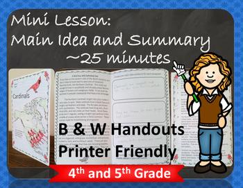 Main Idea and Summary Mini Lesson and Posters