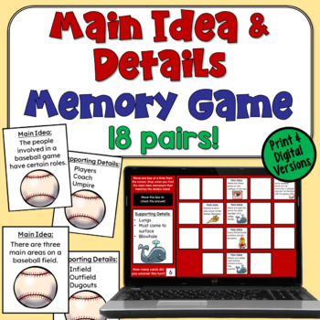 Main Idea and Supporting Details Concentration Game