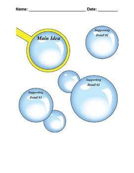 Main Idea and Supporting Details Graphic Organizer Workshe