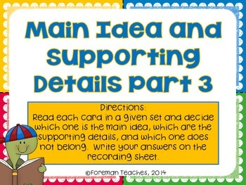 Main Idea and Supporting Details - Sort - Part 3
