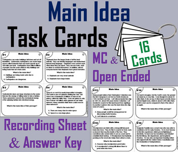 Main Idea and Supporting Details Task Cards 3rd 4th 5th 6th Grade