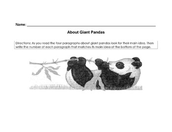 Animals: Giant Pandas Worksheet Reading Comprehension/Scie