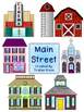 Main Street Small Town Clipart Color & Black and White
