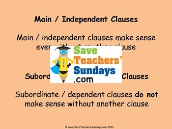 Main and Subordinate clauses PowerPoint and Worksheets (2