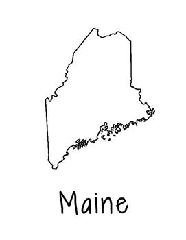 Maine Map Coloring Page Activity - Lots of Room for Note-T