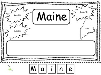 Maine Read it, Build it, Color it Learn the States prescho
