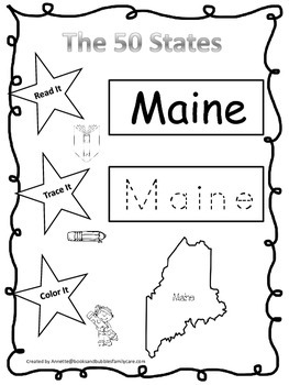 Maine Read it, Trace it, Color it Learn the States prescho