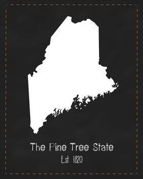 Maine State Map Class Decor, Government, Geography, Black