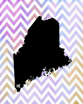 Maine Chevron State Map Class Decor, Government, Geography
