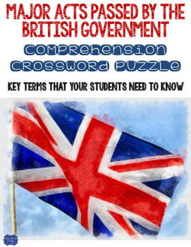Major Acts Passed By The British Government Crossword