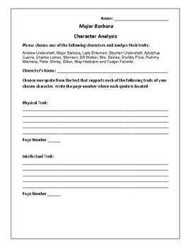 Major Barbara - Character Analysis Activity - George Bernard Shaw