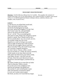 Major Soliloquies from Hamlet