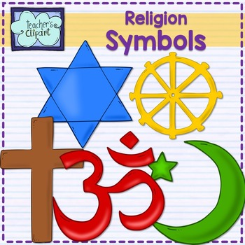 Major world religions symbols (Christianity, Judaism, Isla