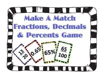 Make A Match - Fractions, Decimals, and Percents Small Gro