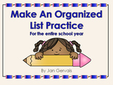 Make An Organized List Practice For the Entire School Year