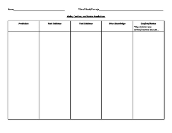 Make, Confirm, and Revise Predictions Graphic Organizer
