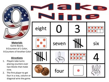 Make Nine - A 2-Player Addition Game to Make Sums of Nine