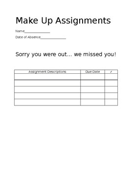 Make Up Assignment Form