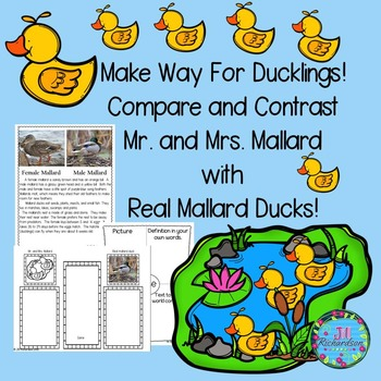 Make Way For Ducklings Book Companion (Paired Text) ESL Ac