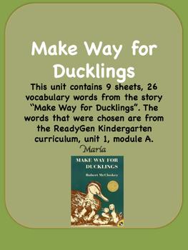 ReadyGen Make Way for Ducklings Vocabulary / Kindergarten