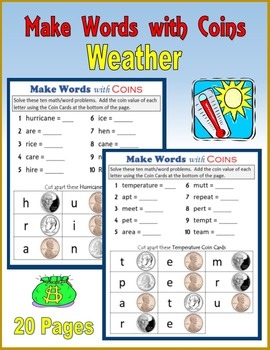 Money:  Make Words with Coins (Weather)