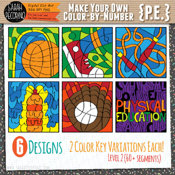 Make Your Own Color-By-Number Blank Clip Art - PHYSICAL EDUCATION