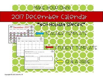 Make Your Own December Calendar! (Math Patterns)