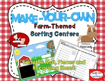 Make-Your-Own Farm-Themed Sorts: Editable Mat, Pieces & Re