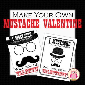 Valentine Card: Make Your Own Mustache Valentine's Day Card