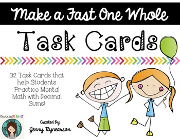 Make a Fast One Whole! Task Cards or SCOOT Game!!!