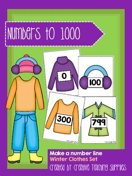 Make a Number Line - Numbers to 1000 - Winter Clothes Set