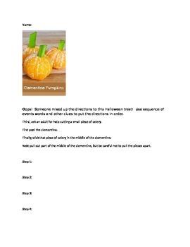 Make a fun, healthy, Halloween treat while practicing sequ