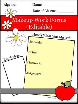 Makeup Work Forms (Editable)